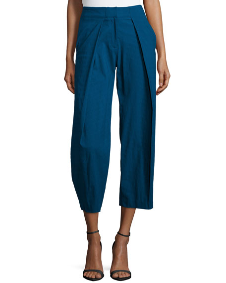 ZAC Zac Posen Parker Pleated-Front Trouser Pants, Petrol