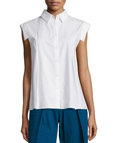 Molly Cap-Sleeve Button-Front Blouse, Bone