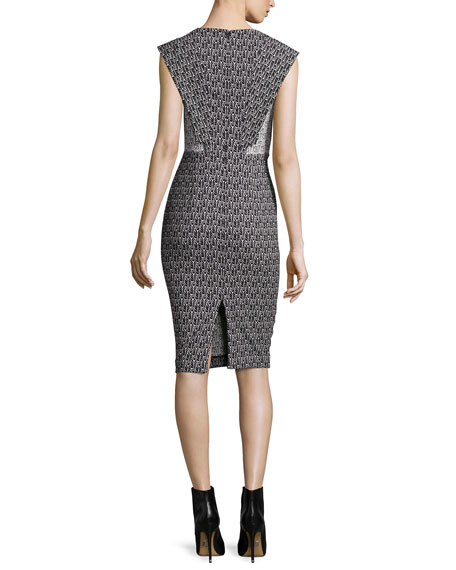 Emily Cap-Sleeve Printed Sheath Cocktail Dress
