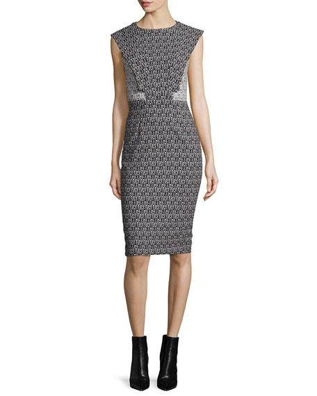 Emily Cap-Sleeve Printed Sheath Cocktail Dress