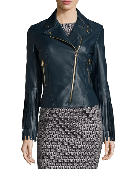 ZAC Zac Posen Willo Leather Moto Jacket with