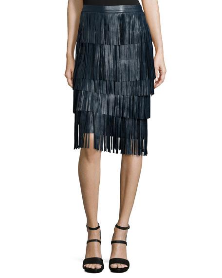 ZAC Zac Posen Layered-Fringe Leather Midi Skirt, Petrol