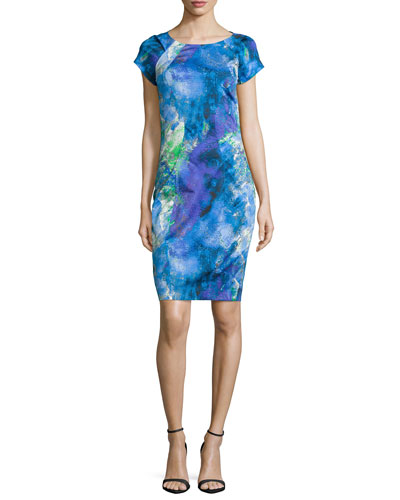 Carmen Short-Sleeve Printed Sheath Dress