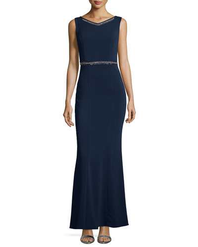 Embellished Sleeveless V-Neck Gown, Dark Midnight