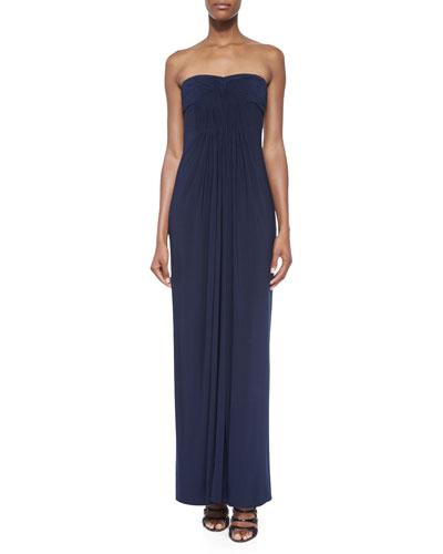 Strapless Pleated-Front Gown, Dark Midnight