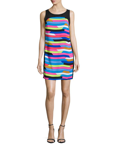 Sleeveless Shift Dress W/Back Cut-Out, Bright Blue Beret/Multi Colors