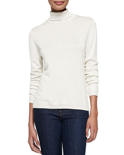 Silk-Cashmere Long-Sleeve Turtleneck, Ivory, Petite