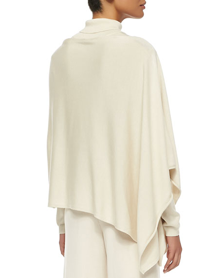 Silk/Cashmere Poncho, Ivory, Plus Size