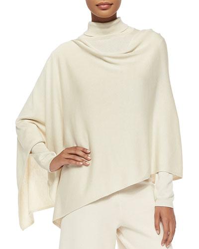 Silk/Cashmere Poncho, Ivory, Women's