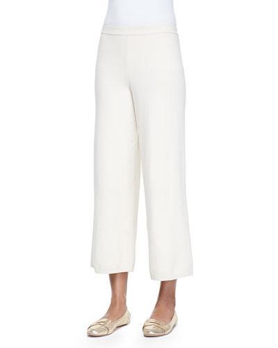 Silk-Cashmere Wide-Leg Pants, Ivory , Women's