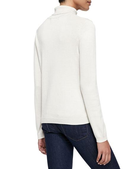Silk-Cashmere Long-Sleeve Turtleneck, Ivory