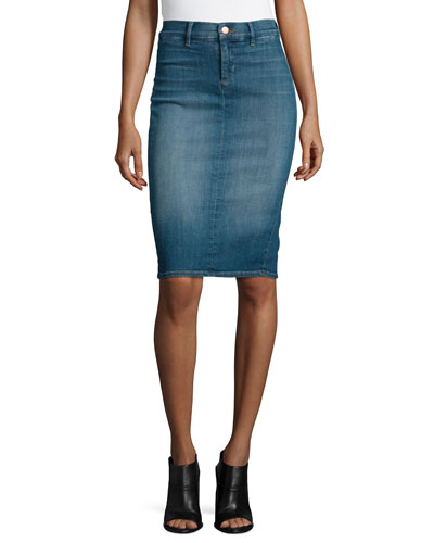 Willa High-Waist Jean Pencil Skirt, Ingenue