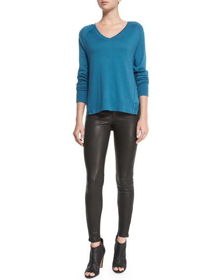 Leather Super Skinny Pants, Noir