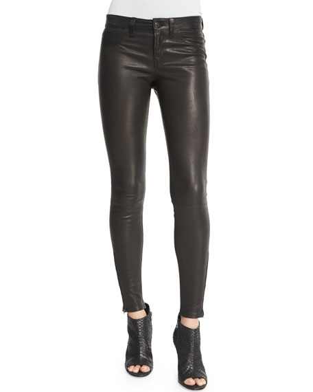 J Brand Leather Super Skinny Pants, Noir