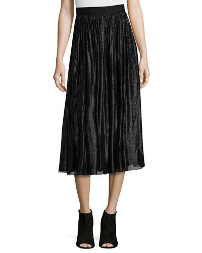 Rosemarie Silk-Blend Midi Skirt, Black