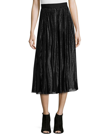 Alice   Olivia Rosemarie Silk-Blend Midi Skirt, Black
