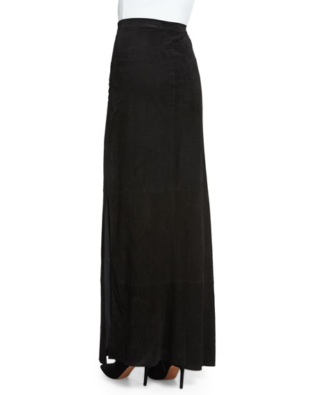 Persol Suede Maxi Skirt, Black