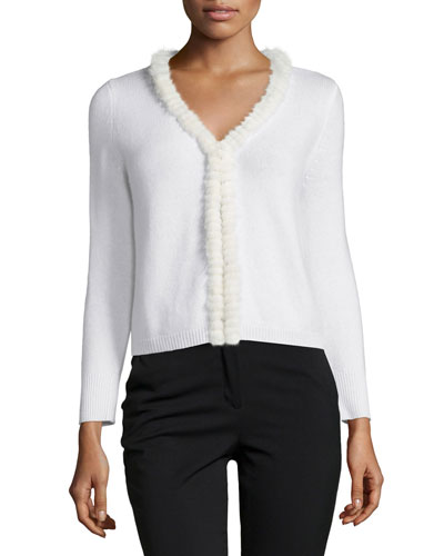 Mink Fur-Trim Cashmere Shrug, White