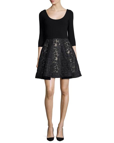 Alice + Olivia Amie Scoop-Neck Combo Dress, Black