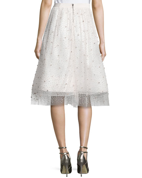 Alice   Olivia Catrina Embellished A-Line Skirt, Cream