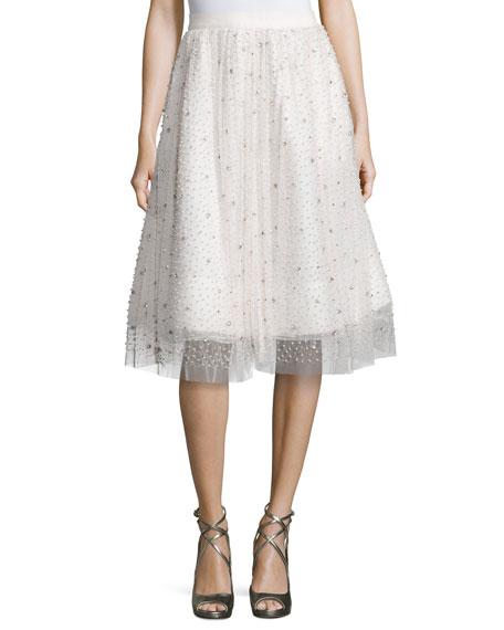 Alice + Olivia Catrina Embellished A-Line Skirt, Cream