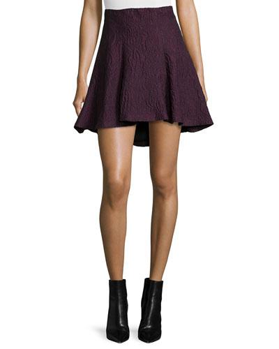 Sibel Jacquard High-Low Skirt, Plum