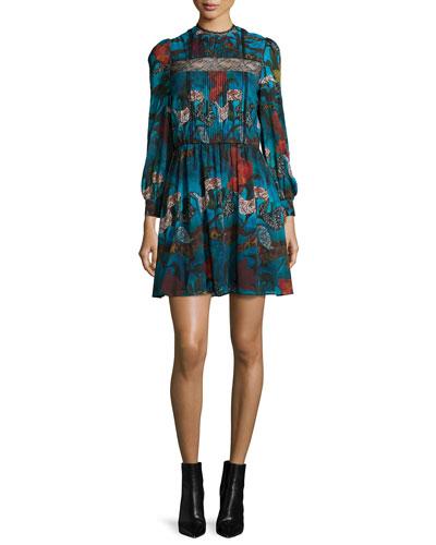 Aimee Long-Sleeve Floral-Print Dress, Blue/Multicolor