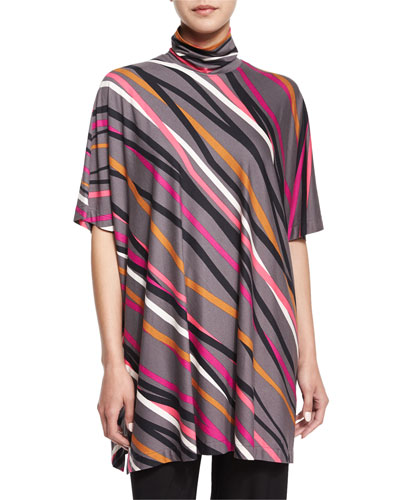Crossing Striped Turtleneck Caftan, Women's