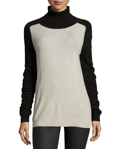 Colorblock Turtleneck Sweater, Khaki/Black