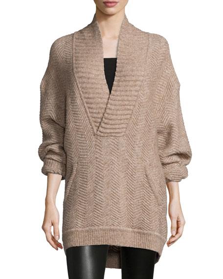 Chevron-Stitch Knit Sweater, Honey