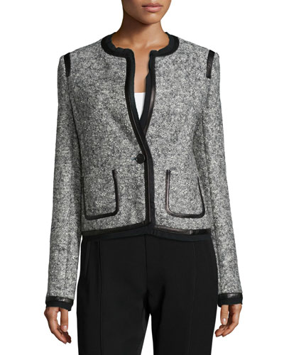 Leather Trim Boucle Jacket, Gray