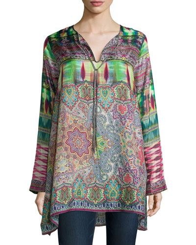 Rose Tie-Neck Flowy Tunic, Women's