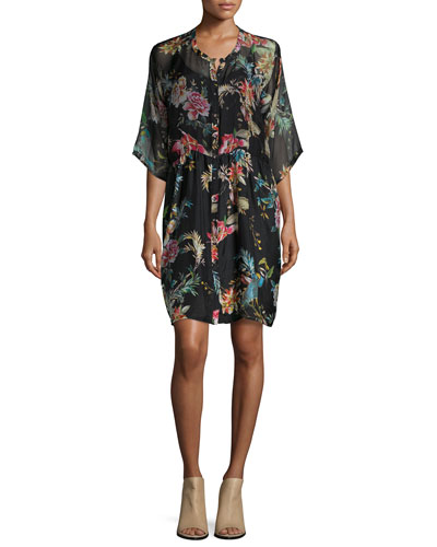 Betty Button-Front Floral-Print Dress