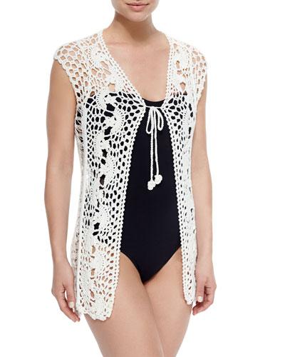 Hunter Crocheted Coverup Vest, Ivory