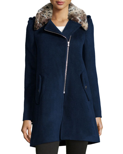 Faux-Fur-Trim Wool-Blend Jacket, Petrol Blue