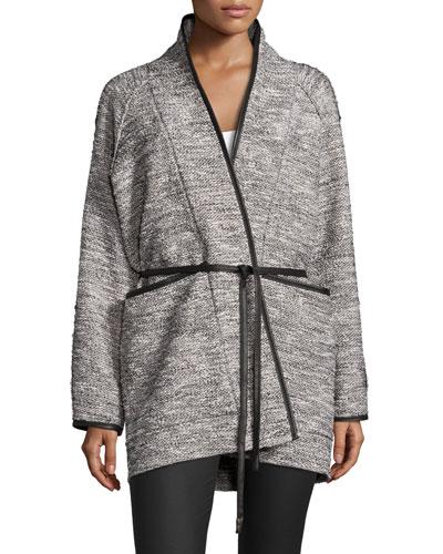 Tweed Tie-Waist Jacket, Black/White