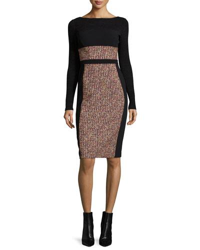 Long-Sleeve Print-Blocked Sheath Dress