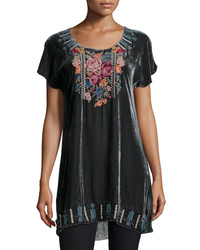 Nanette Short-Sleeve Velvet Tunic, Women's