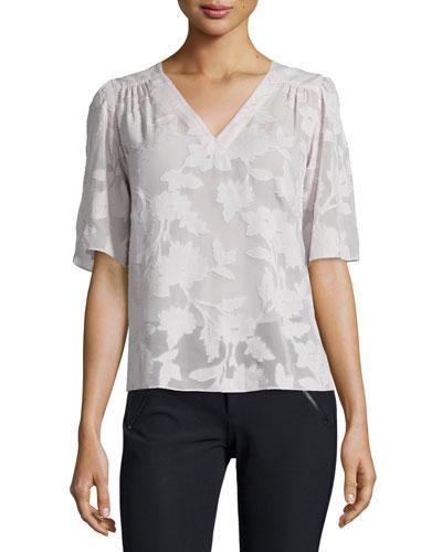 Short-Sleeve Magnolia Sheer V-Neck Top, Moonlight
