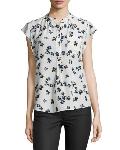 Silk Flutter-Sleeve Floral Top, Chalk