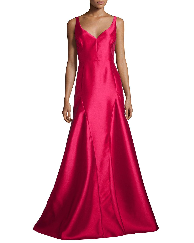 Black Halo Sleeveless V-Neck Godet Ball Gown   Neiman Marcus