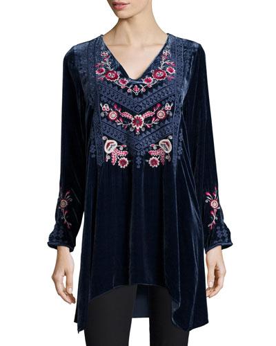 Laura Embroidered Velvet Tunic, Women's