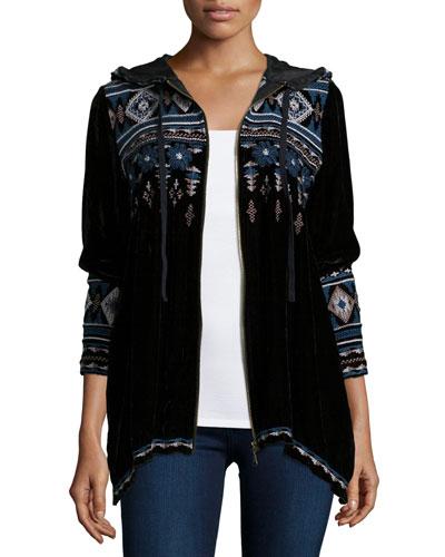 Tina Embroidered Zip-Front Hoodie, Women's