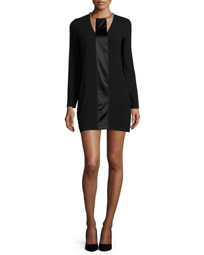 Long-Sleeve Shift Dress with Satin Strip