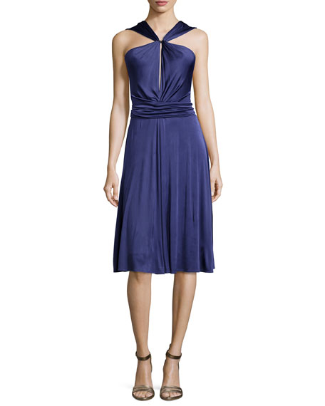 Halston Heritage Gathered-Waist Dress W/Tie, Elderberry
