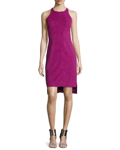 Halston Heritage Sleeveless Cami Dress W/Split Hem, Magenta