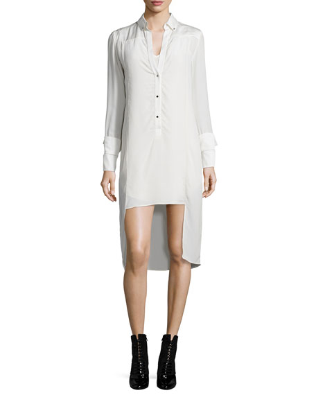 Halston Heritage Long-Sleeve Tuxedo Shirtdress