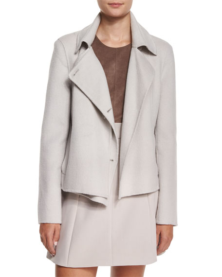 Halston Heritage Short Double-Faced Coat, Flint