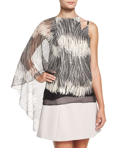 Halston Heritage Flowy Sleeveless Top W/Asymmetric Cape, Black