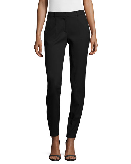 Halston Heritage Slim-Leg Pants W/ Patch Pockets